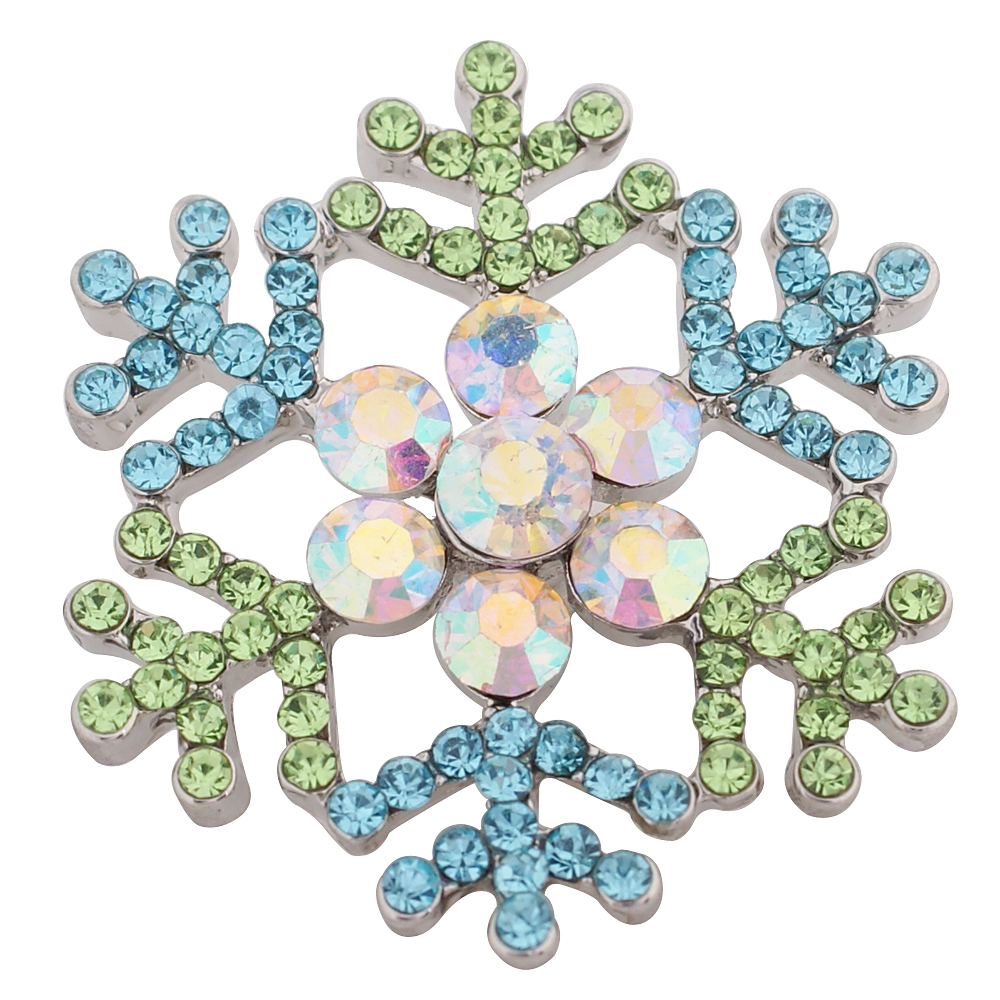 Snap Jewelry Rhinestone - Snowflake AB Peridot & Light Blue