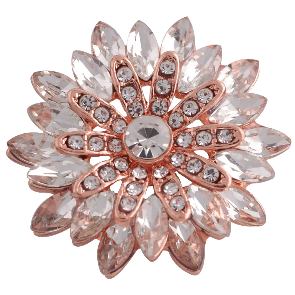 Snap Jewelry Rhinestone Marquise Flower Rose Gold & Clear