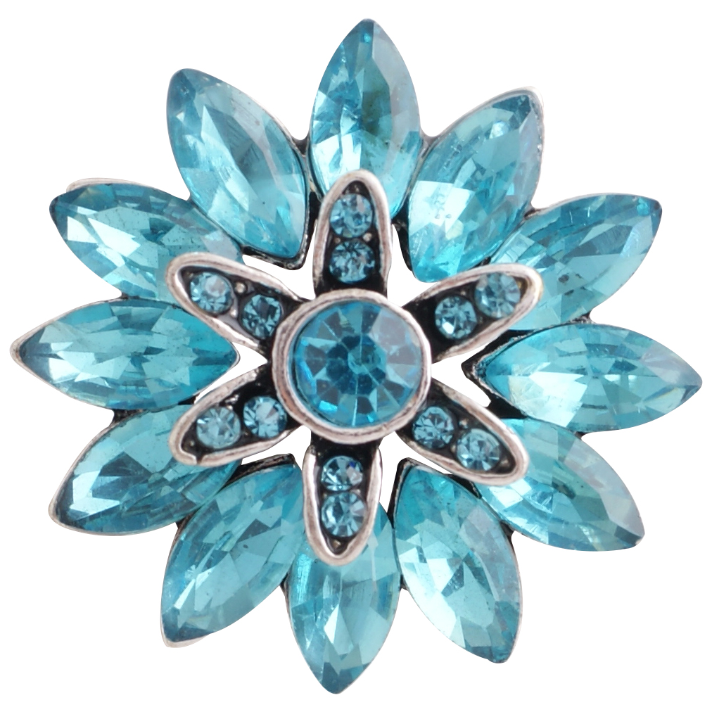 Snap Jewelry Rhinestone Flower - Light Blue Marquise Stones