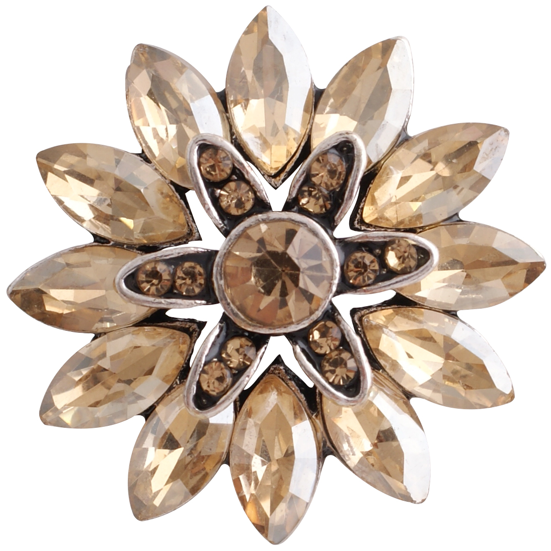 Snap Jewelry Rhinestone Flower - Topaz & Brown Marquise Stones