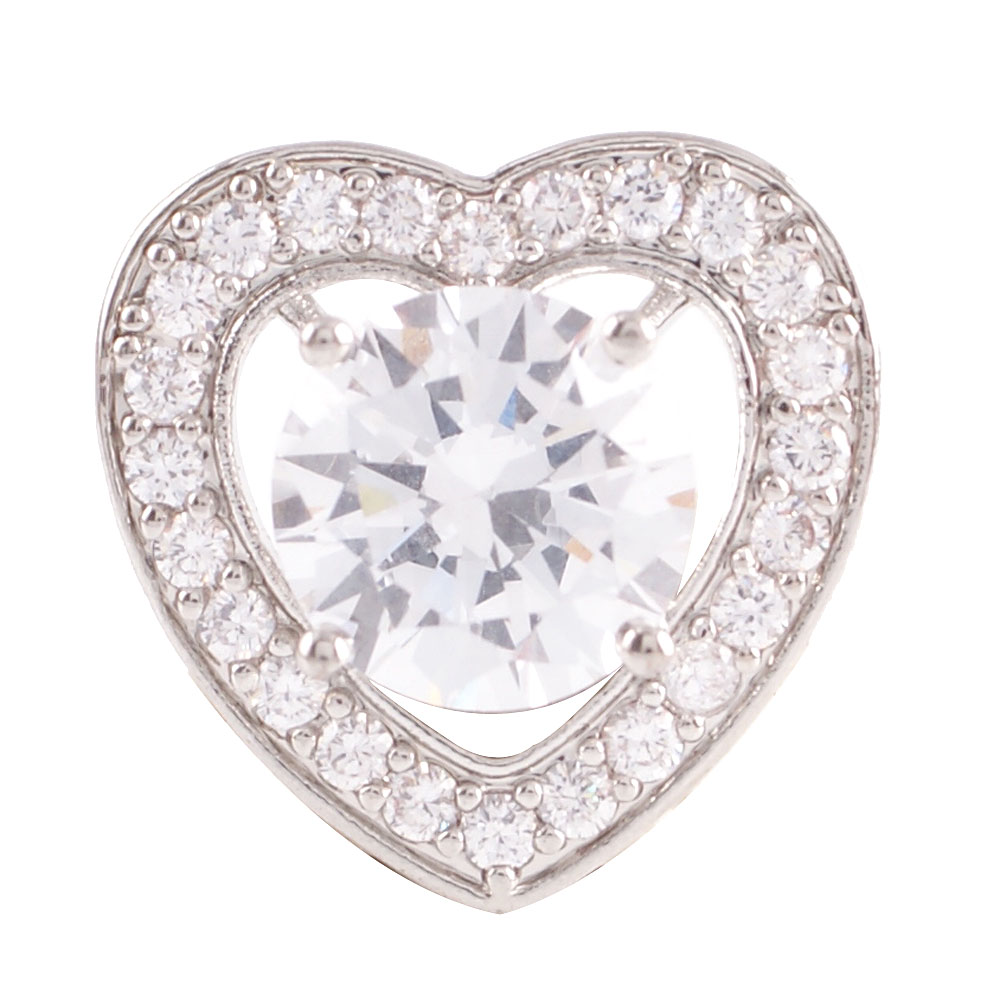 Snap Jewelry Large CZ - Heart Clear