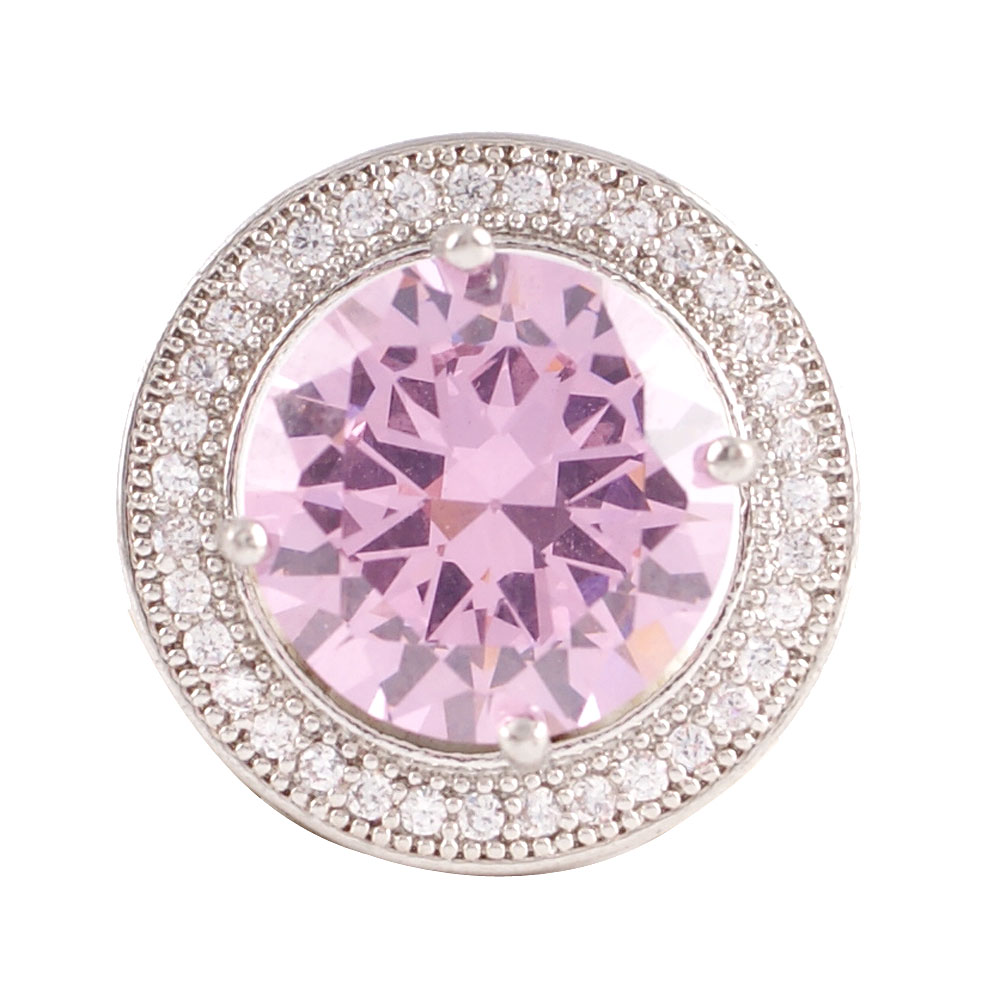 Snap Jewelry Large CZ - Round Pink