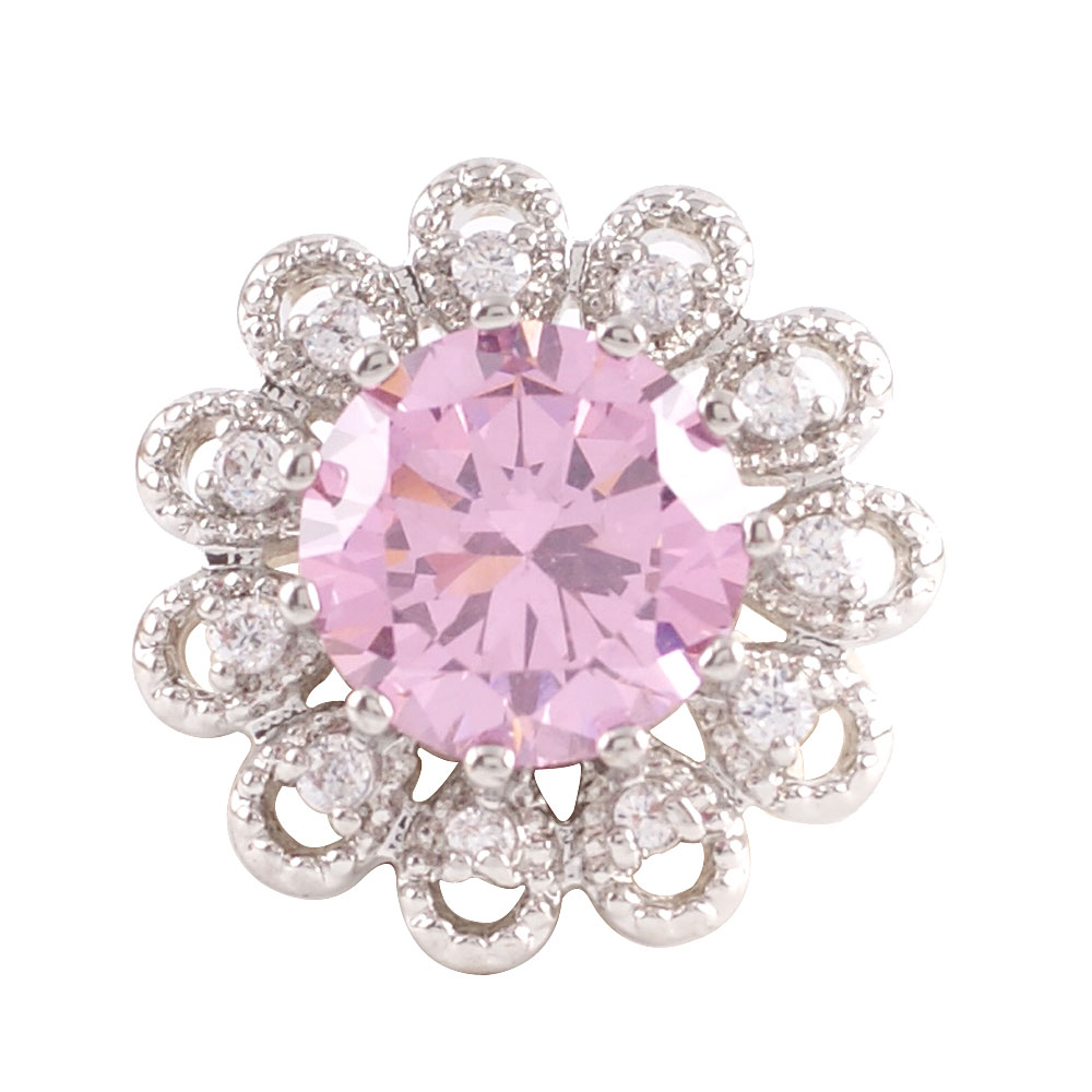 Snap Jewelry Large CZ - Round Flower Pink