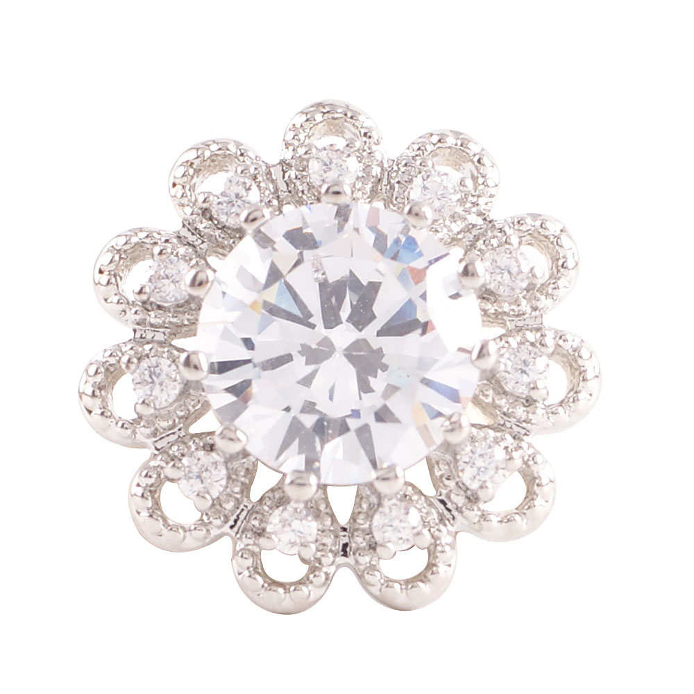 Snap Jewelry Large CZ - Round Flower Clear