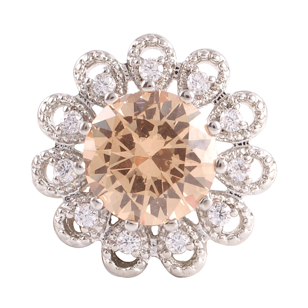 Snap Jewelry Large CZ - Round Flower Beige