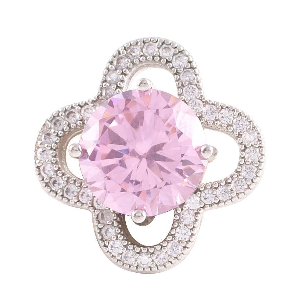 Snap Jewelry Large CZ - Round 4 Petal Pink