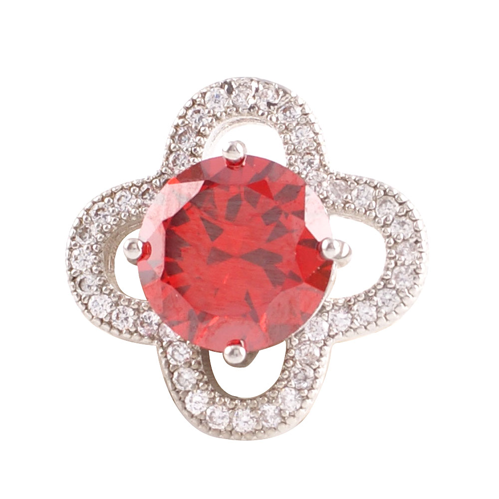 Snap Jewelry Large CZ - Round 4 Petal Ruby