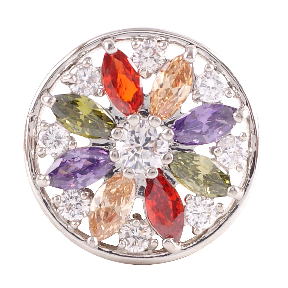 Snap Jewelry Large CZ - Round Multi Color Petals