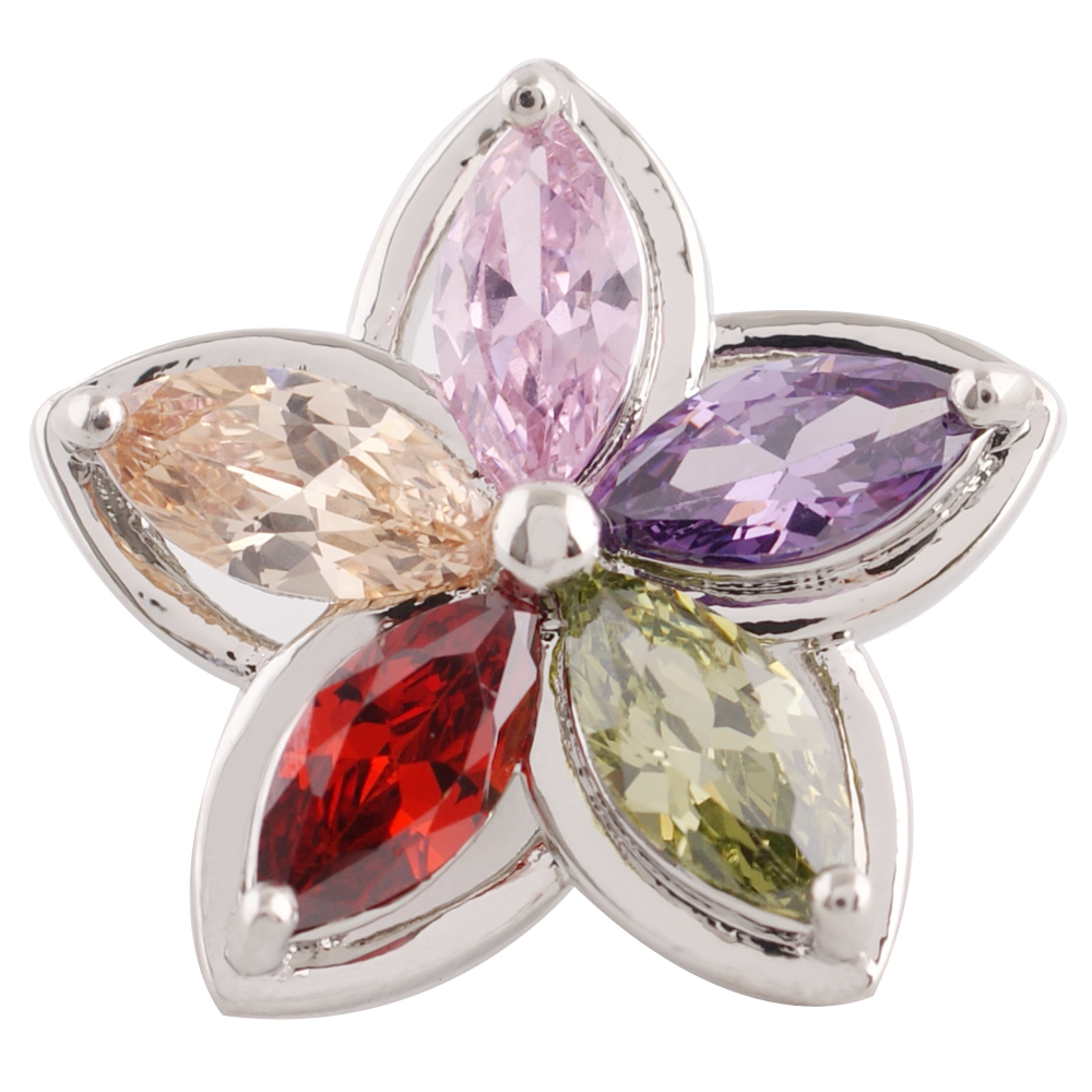 Snap Jewelry Large CZ - Flower Multi-Color