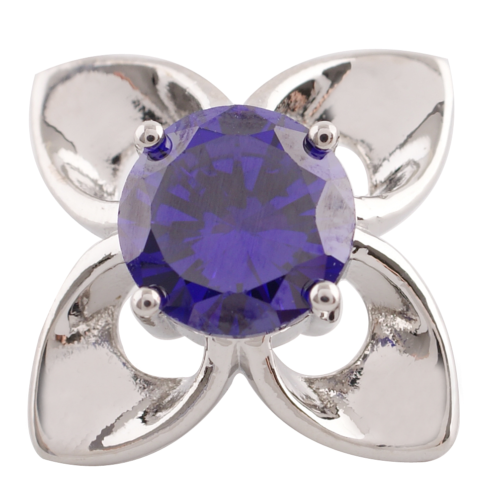 Snap Jewelry Large CZ - 4 Petal Flower Purple