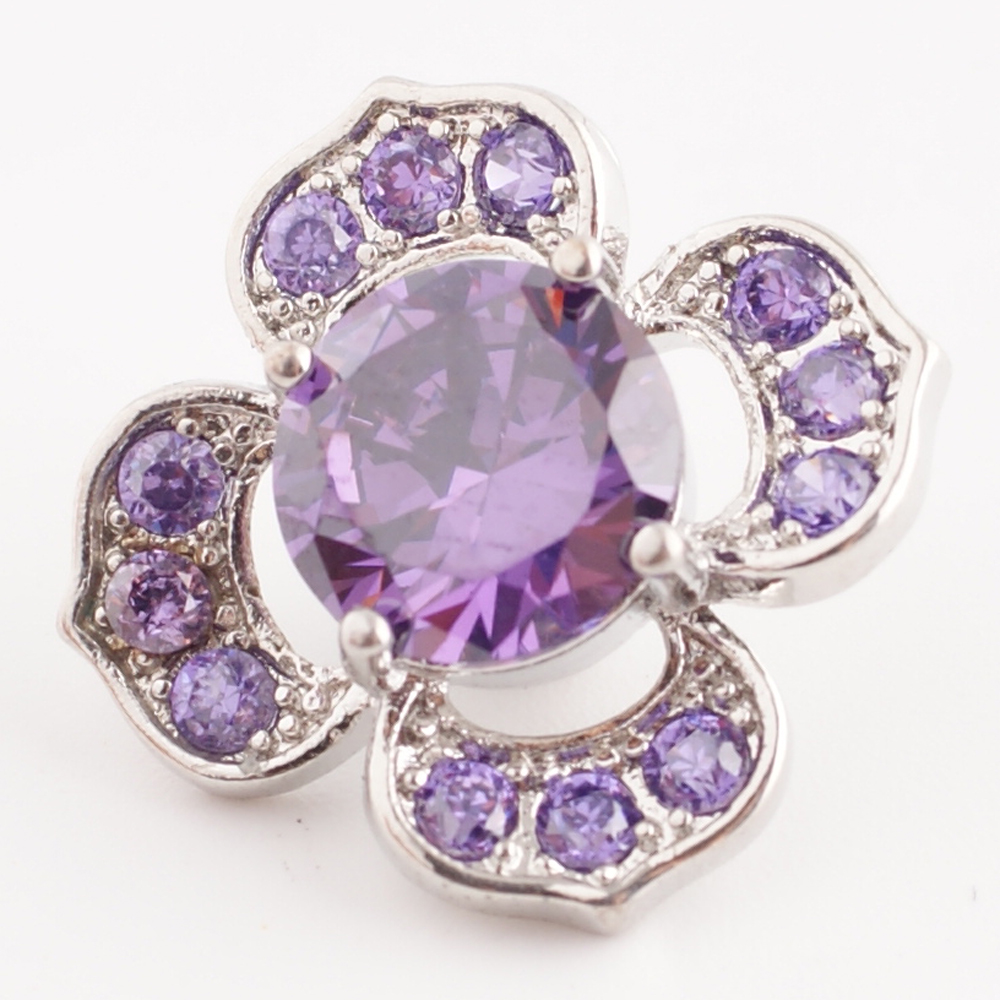 Snap Jewelry Large CZ - Flower Purple