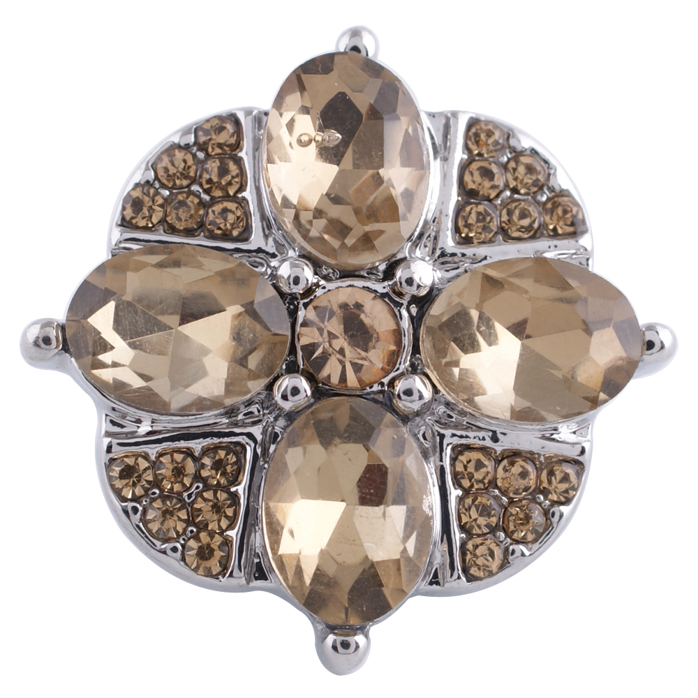 Snap Jewelry Rhinestone - Flower Beige