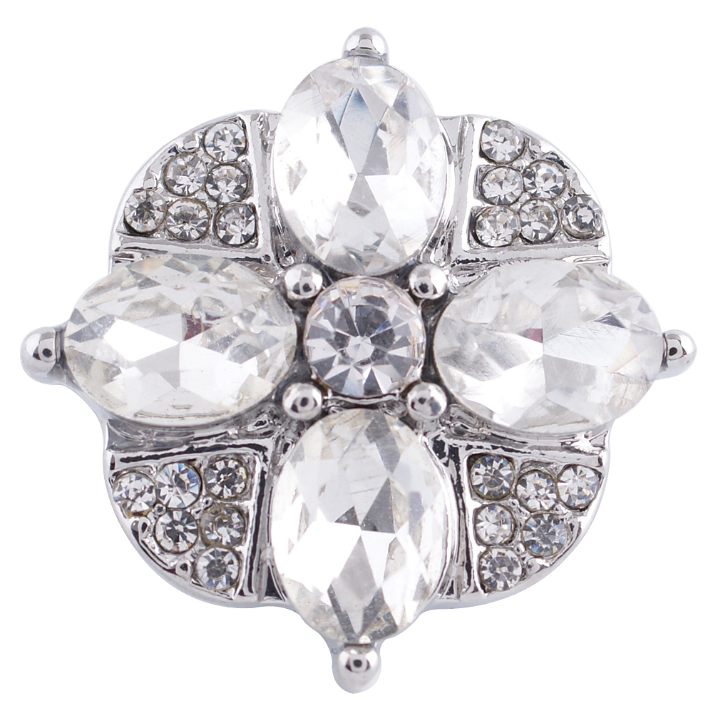 Snap Jewelry Rhinestone - Flower Clear