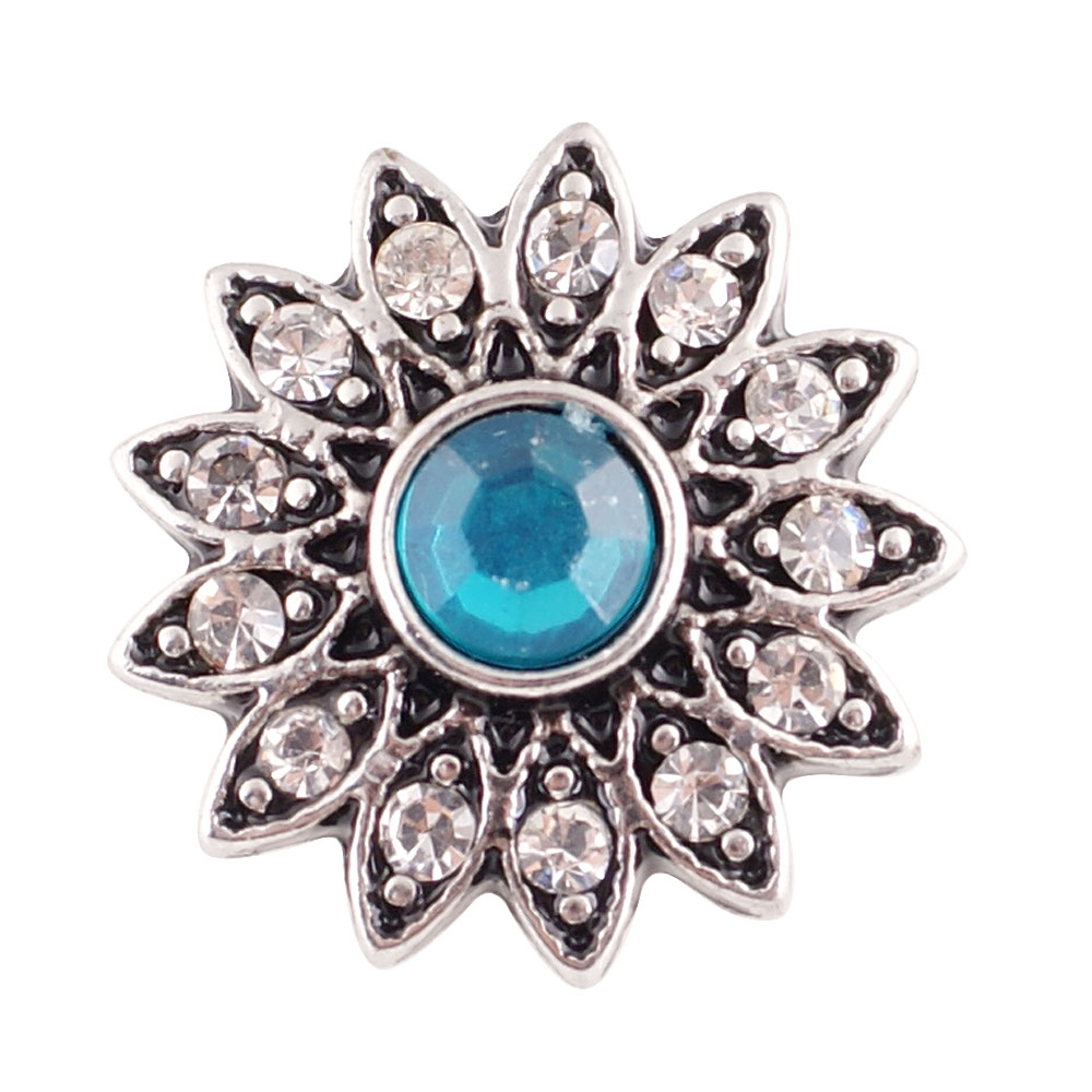 Snap Jewelry Rhinestone - Flower Light Blue & Clear