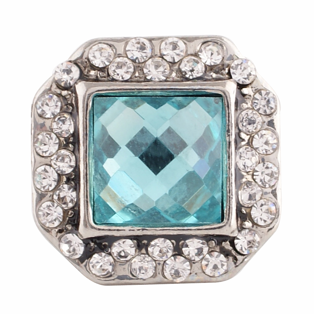 Snap Jewelry Rhinestone - Square Light Blue & Clear