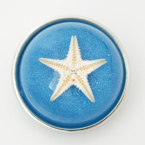 Snap Jewelry Glass Dome - Starfish Light Blue Sparkle