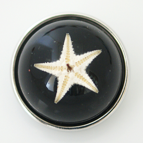 Snap Jewelry Glass Dome - Starfish Black Sparkle