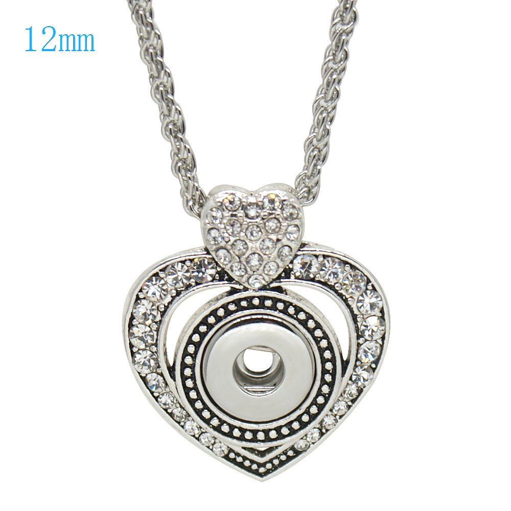 Mini Snap 12mm - Pendant Heart with Rhinestones and Necklace