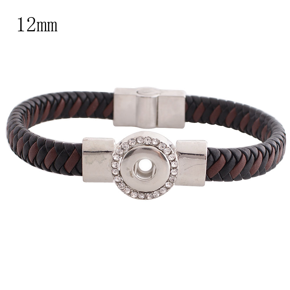Mini Snap 12mm - Bracelet Magnetic Leather Black Designer