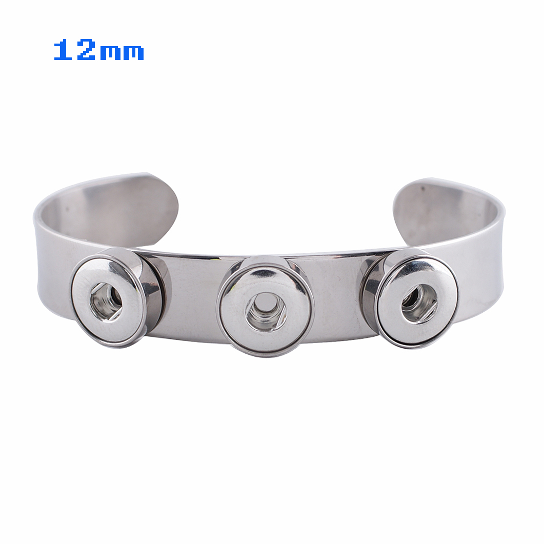 Mini Snap 12mm Cuff Bangle - Triple Stainless Steel