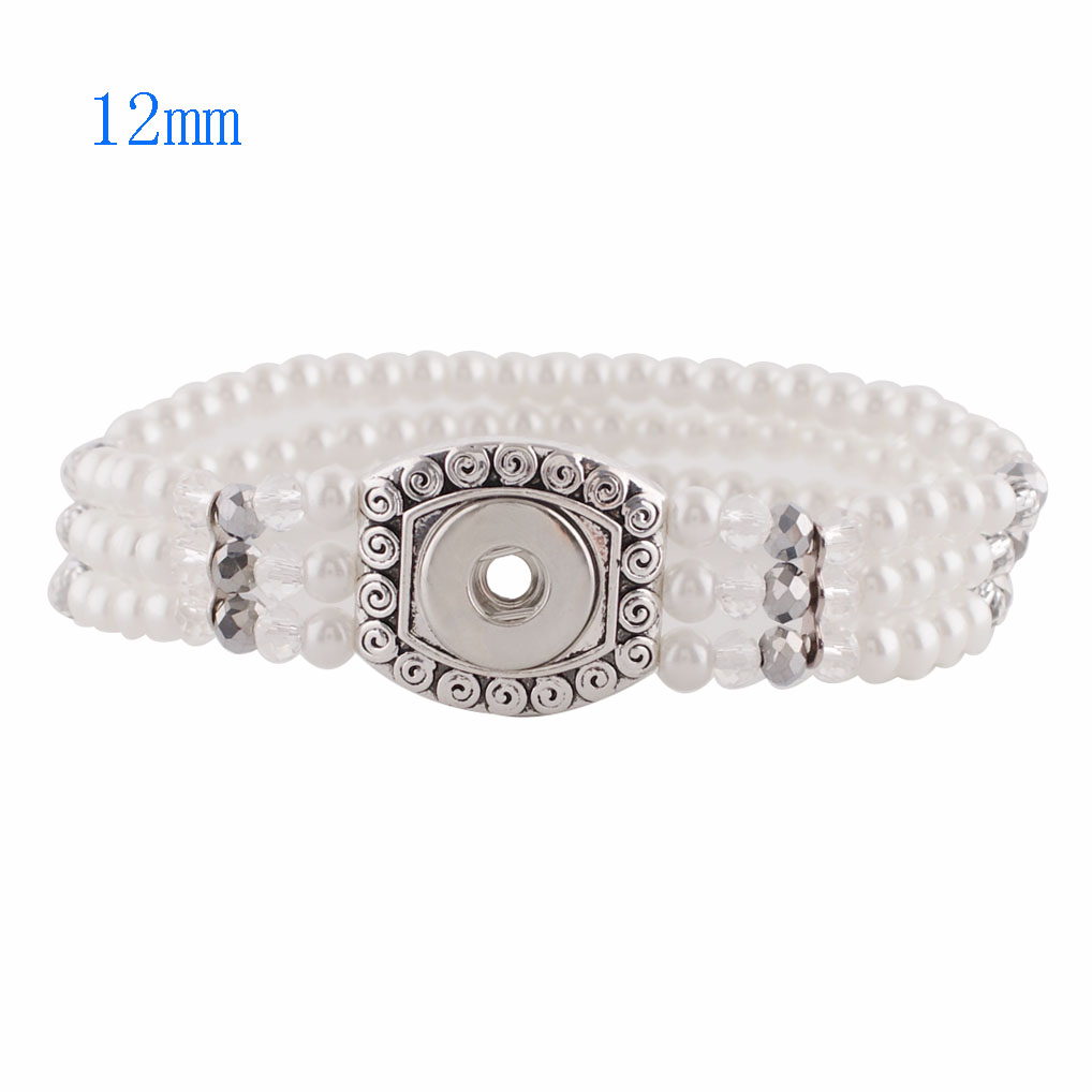 Mini Snap 12mm - Bracelet Stretch White Pearls