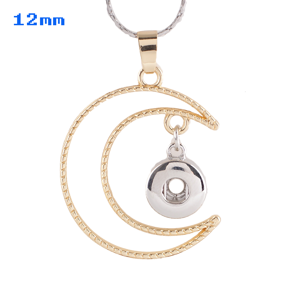 Mini Snap 12mm - Pendant Moon - Gold & Silver