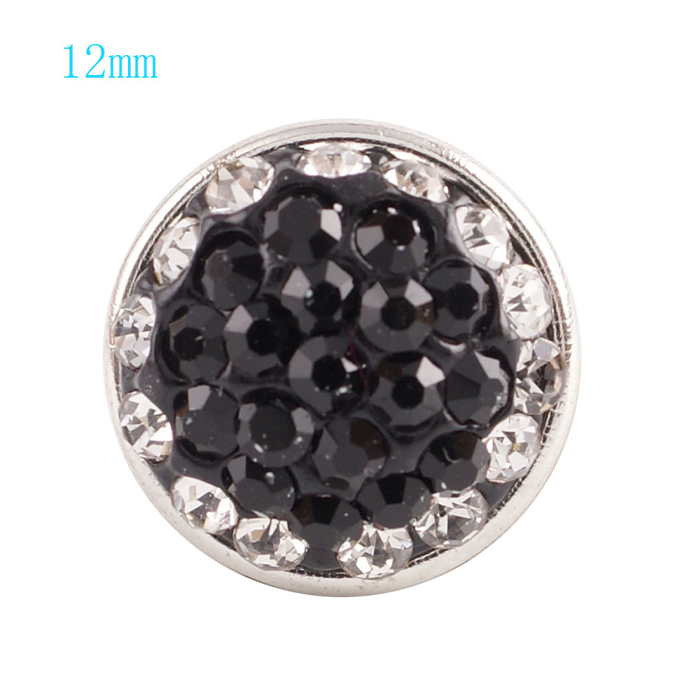 Mini snap 12mm - Crystal Black & White Halo