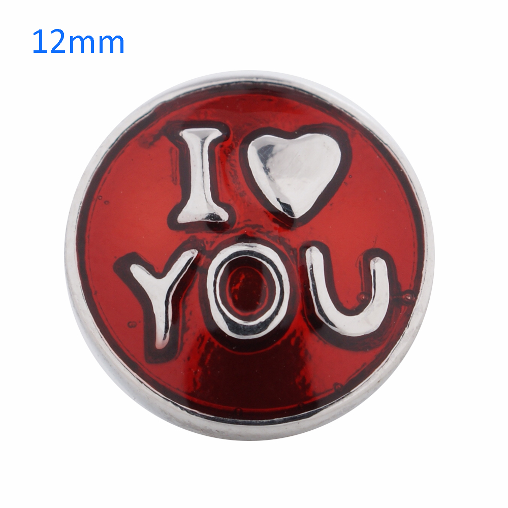 Mini Snap 12mm - Enamel - I Love You - Red