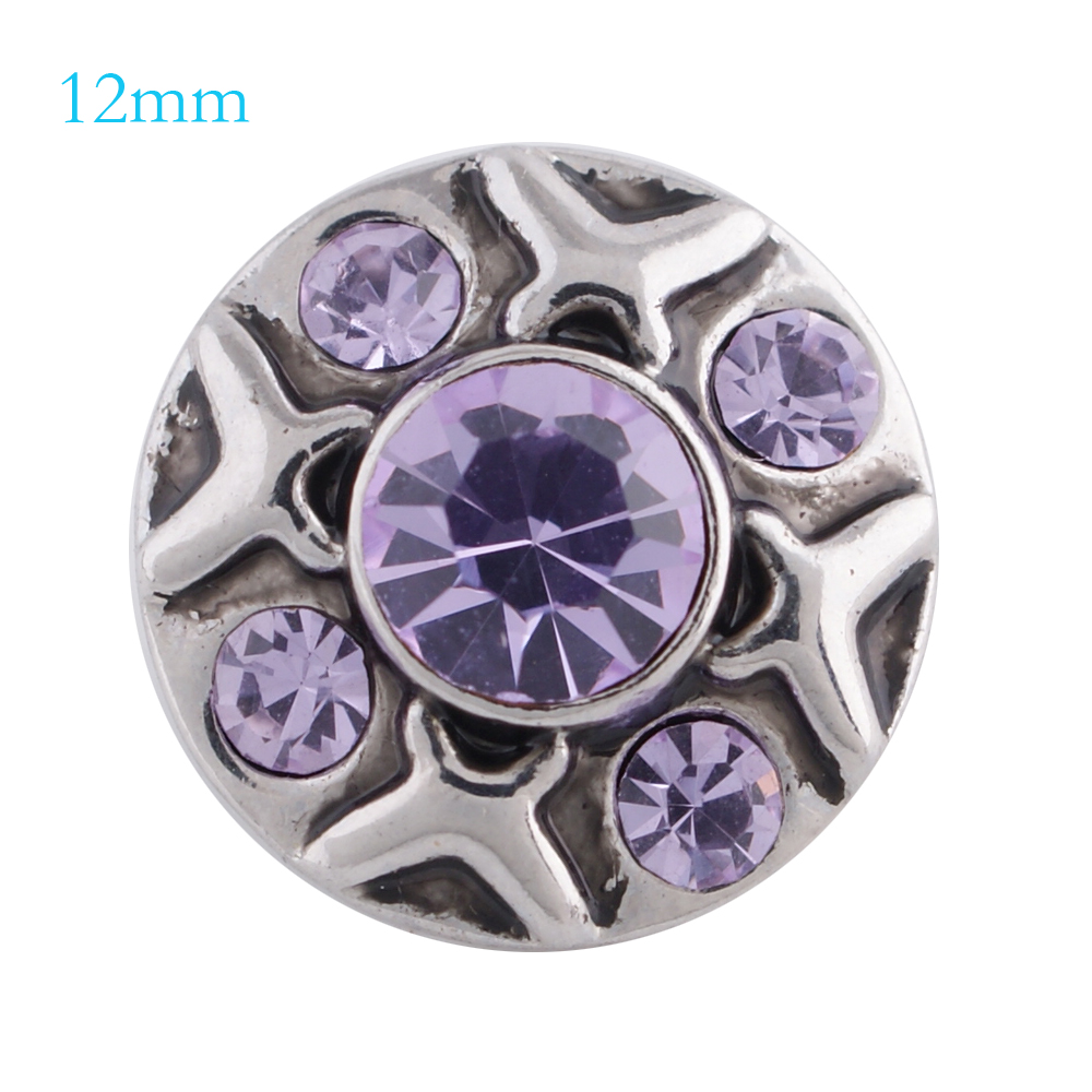Mini Snap 12mm - Rhinestone Designer Lavender Purple