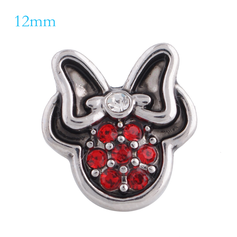 Mini Snap 12mm - Rhinestone Red Mouse