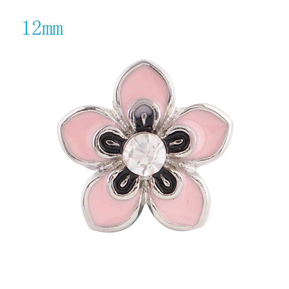 Mini Snap 12mm - Enamel Flower Pink & Black