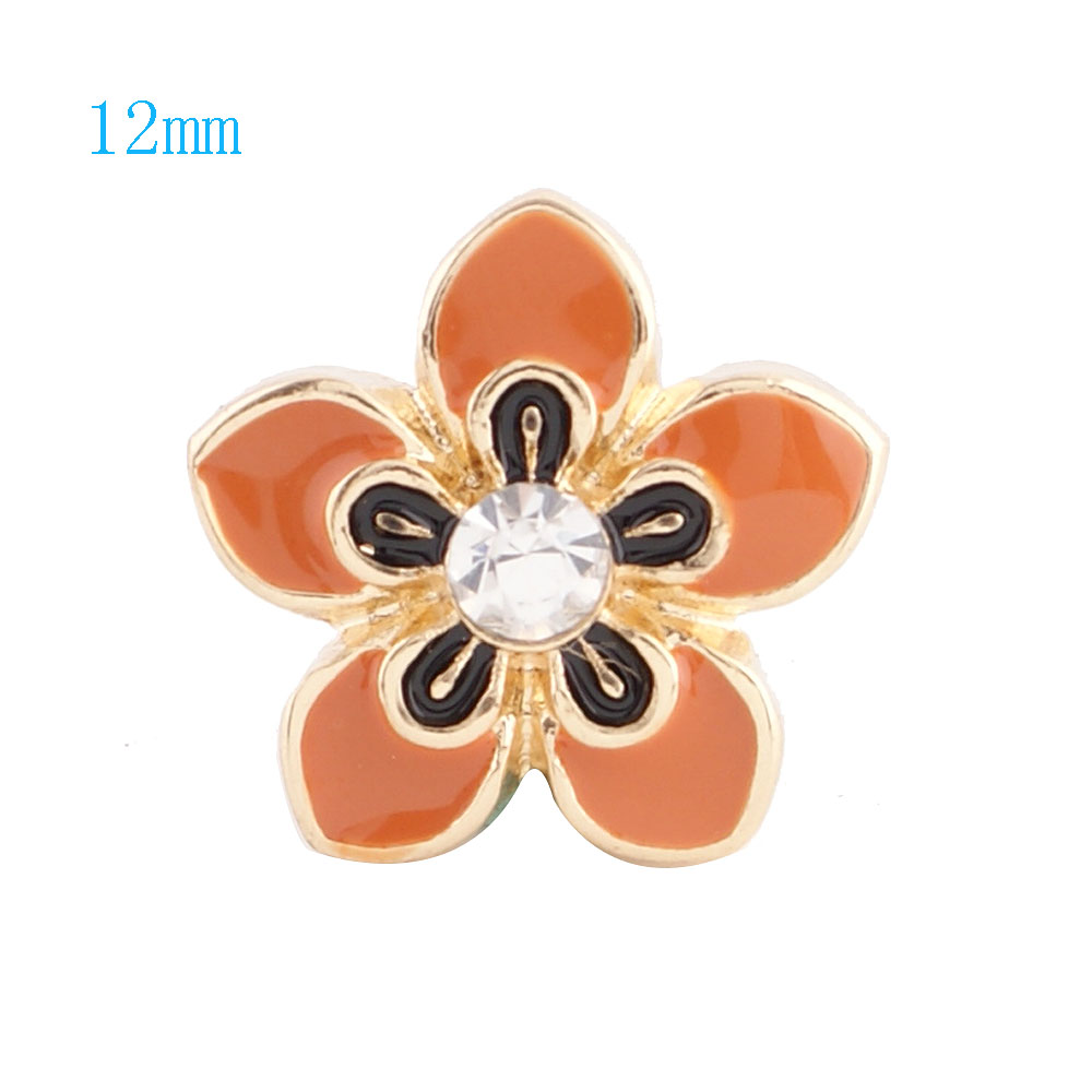 Mini Snap 12mm - Enamel Flower Orange & Black Gold Tone Backing