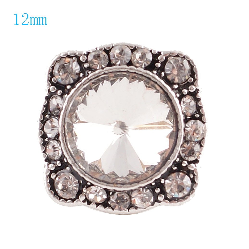 Mini Snap 12mm - Rhinestone Faceted Design Clear
