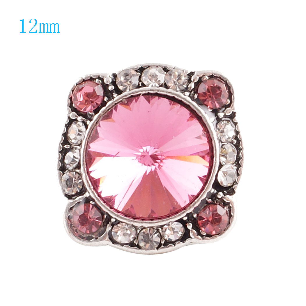 Mini Snap 12mm - Rhinestone Faceted Design Pink