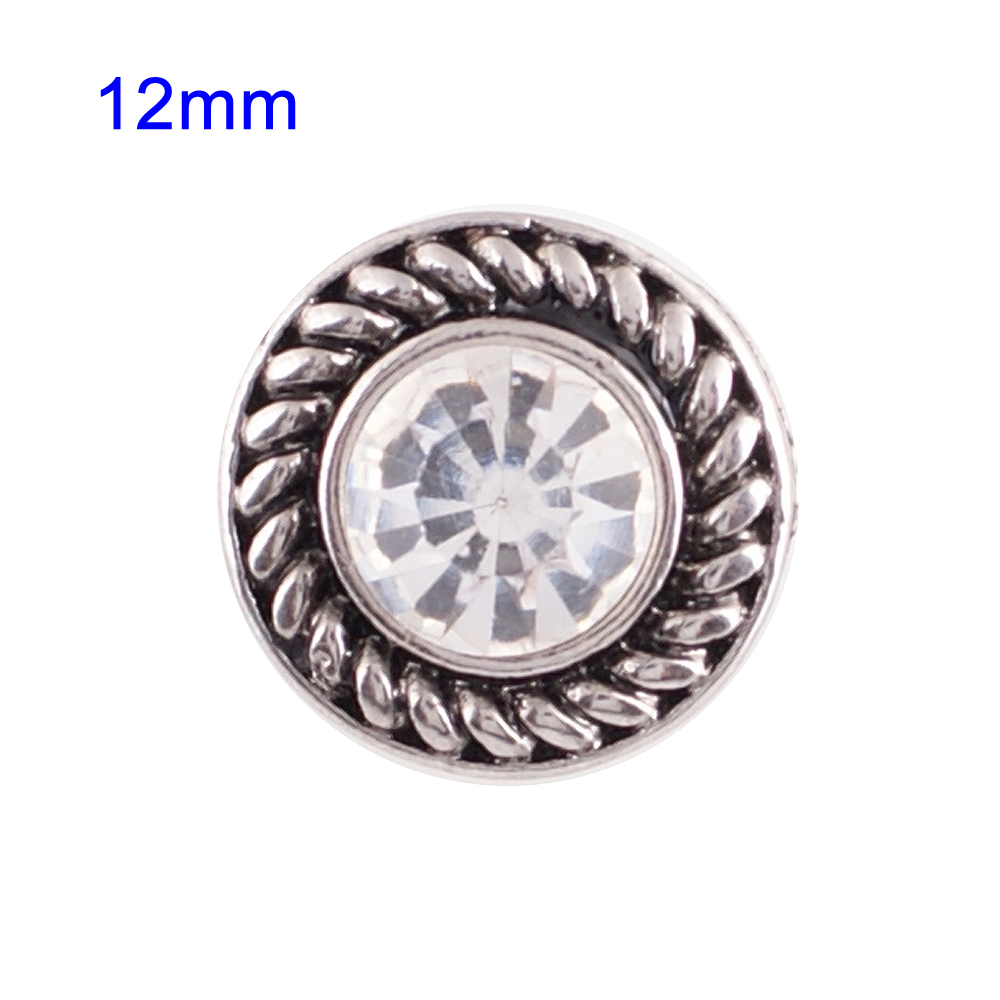 Mini Snap 12mm - Rhinestone Faceted Clear