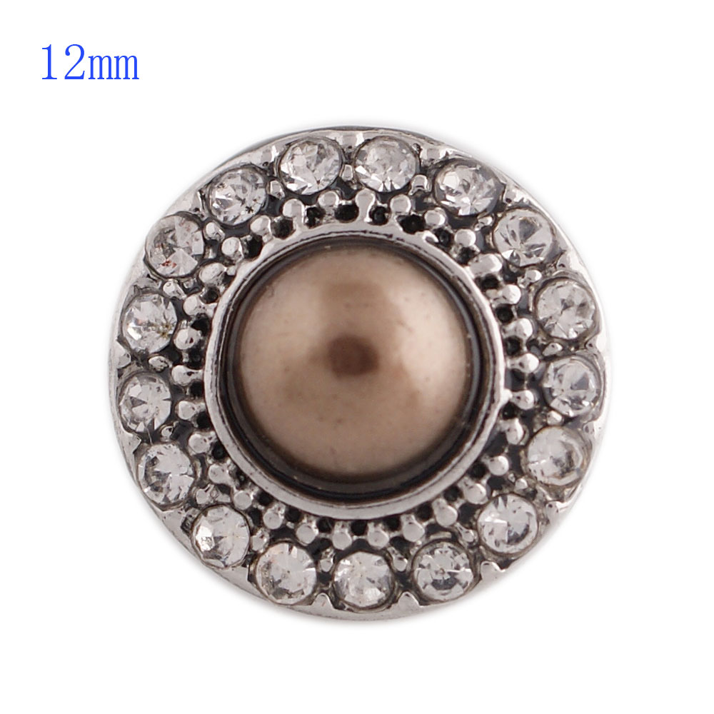 Mini Snap 12mm - Rhinestone Antique Clear & Pearl