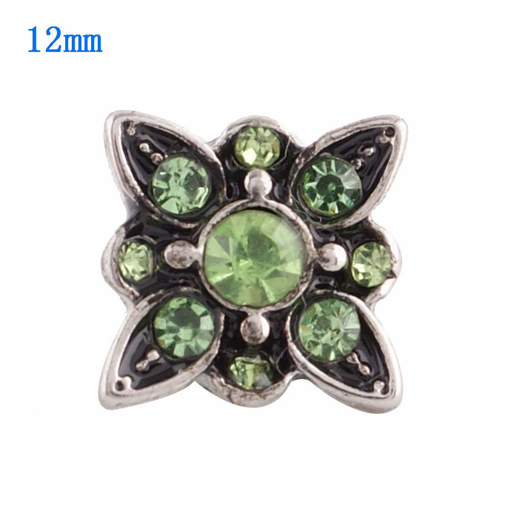 Mini Snap 12mm - Rhinestone Points Lime