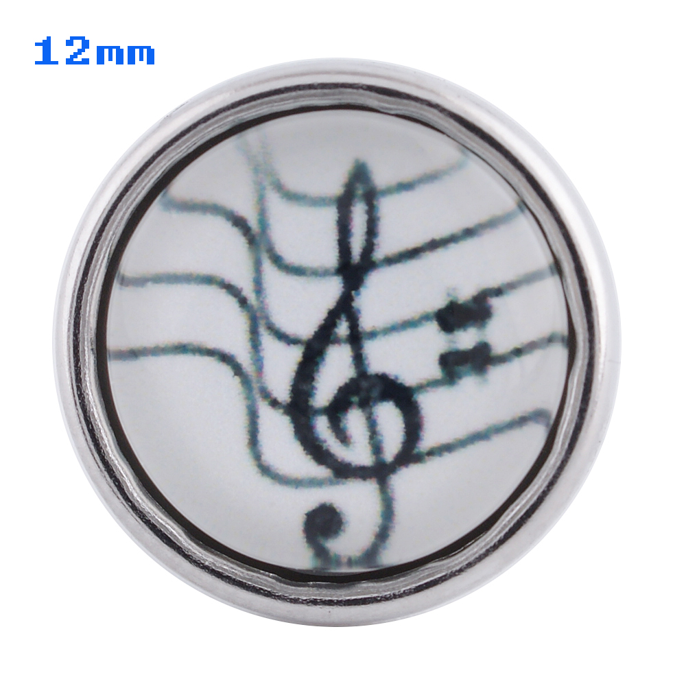Mini Snap 12mm - Glass Music Note