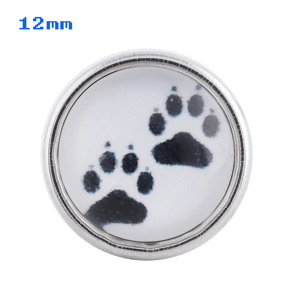 Mini Snap 12mm - Glass Paw Print