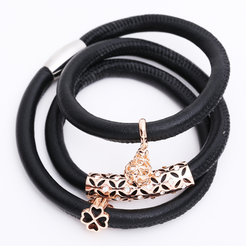 Premade End Less Bracelet Triple Magentic Black - Rose Gold