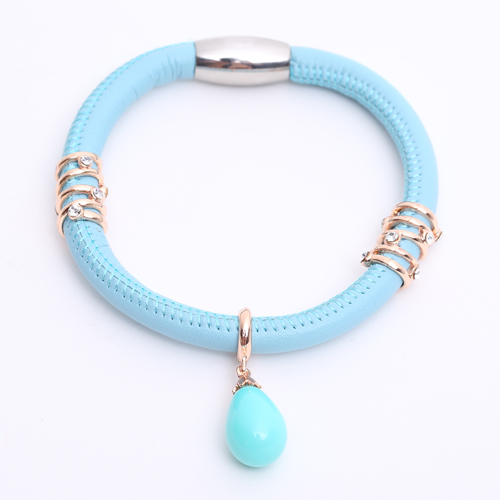 Premade End Less Bracelet Magentic Light Blue - Rose Gold Charms