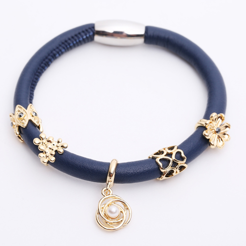 Premade End Less Bracelet Magentic Navy Blue - Rose Gold