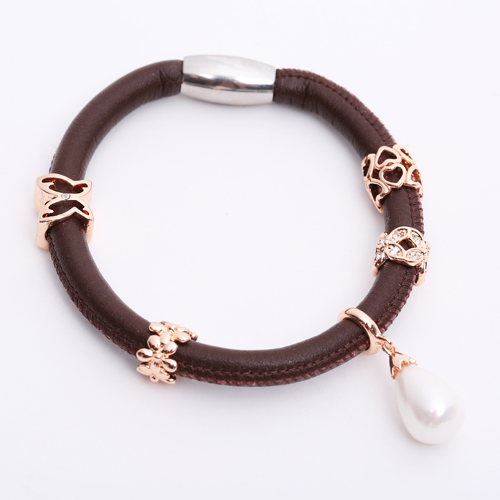 Premade End Less Bracelet Magentic Brown - Rose Gold Charms