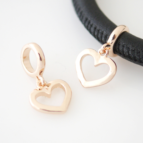 End Less Rhinestone Charms Drop - Heart Rose Gold