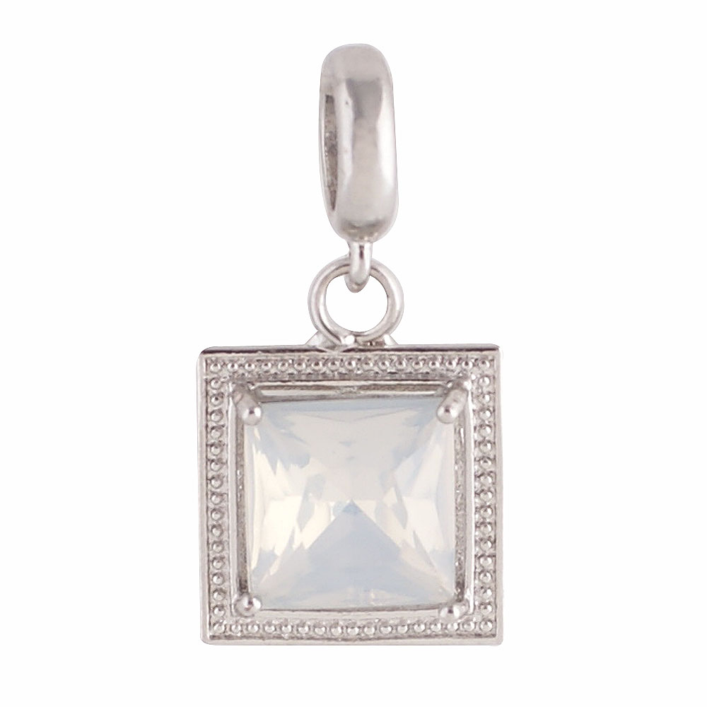 End Less Rhinestone Charms Drop - Silver Square AB Clear