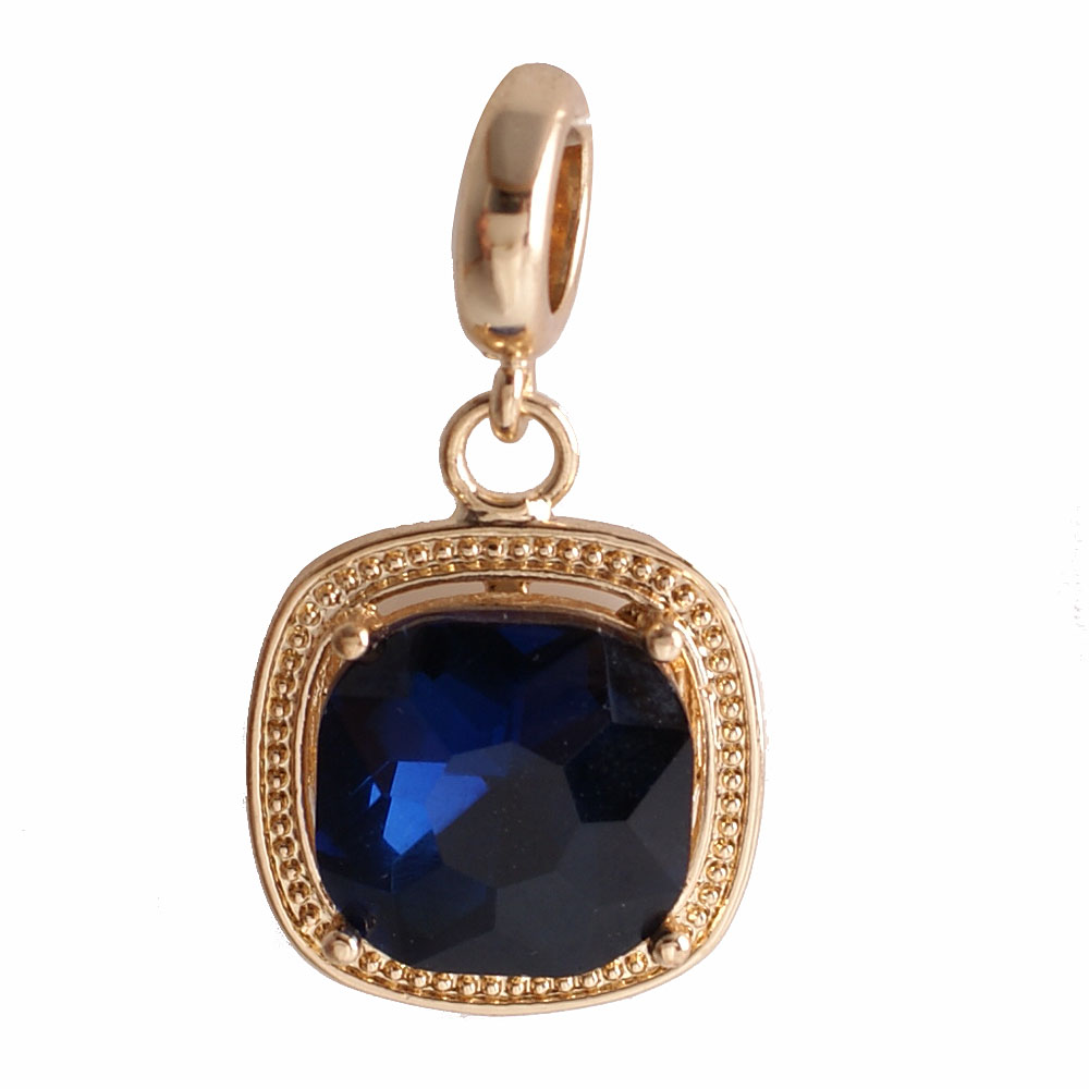 End Less Rhinestone Charms Drop - Gold Cushion Cut Dark Blue
