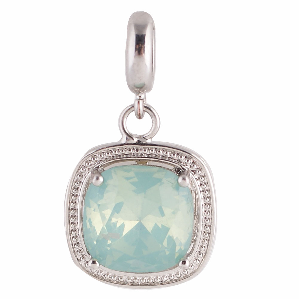 End Less Rhinestone Charms Drop - Silver Cushion Cut Lt Blue AB