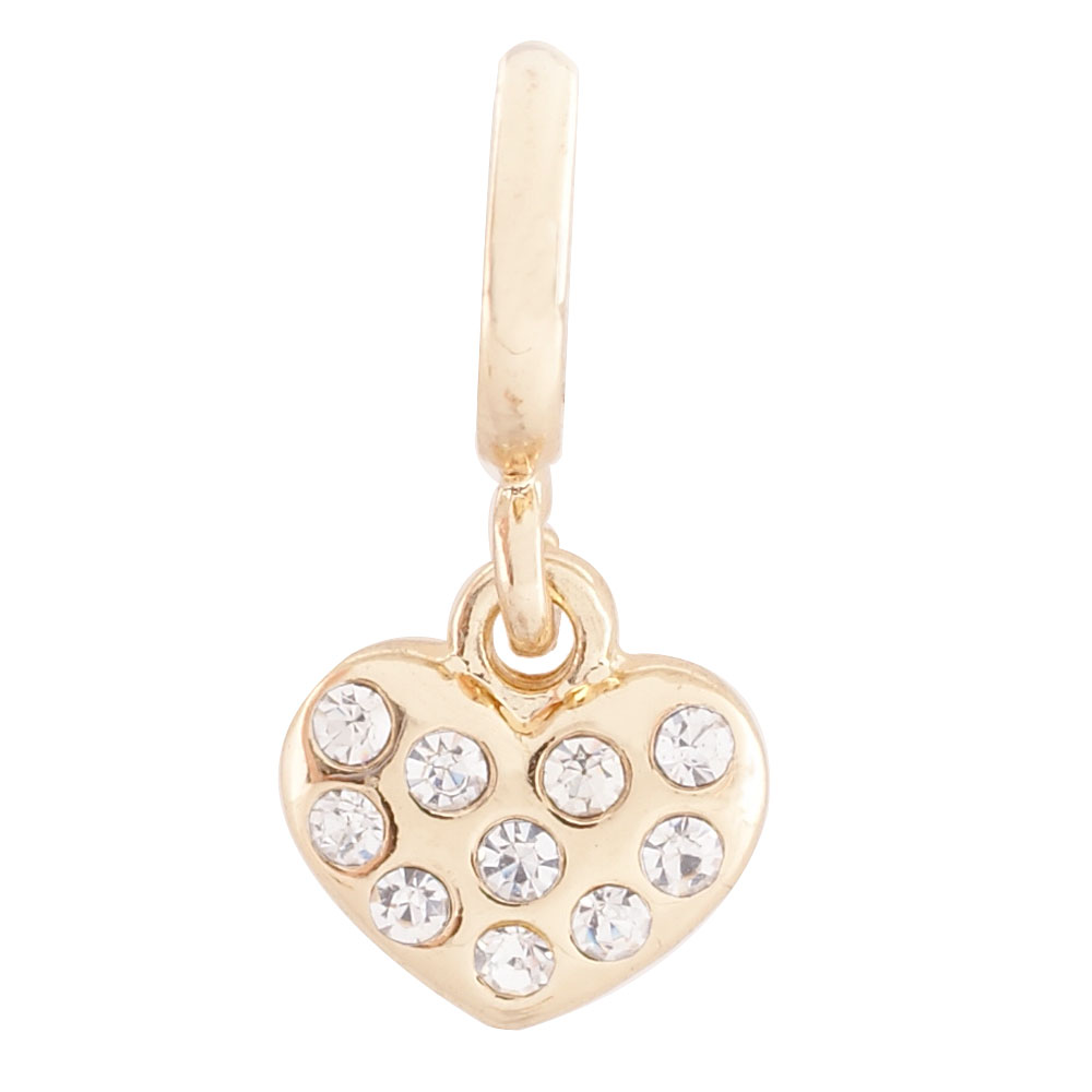 End Less Rhinestone Charms Drop - Gold Heart Clear