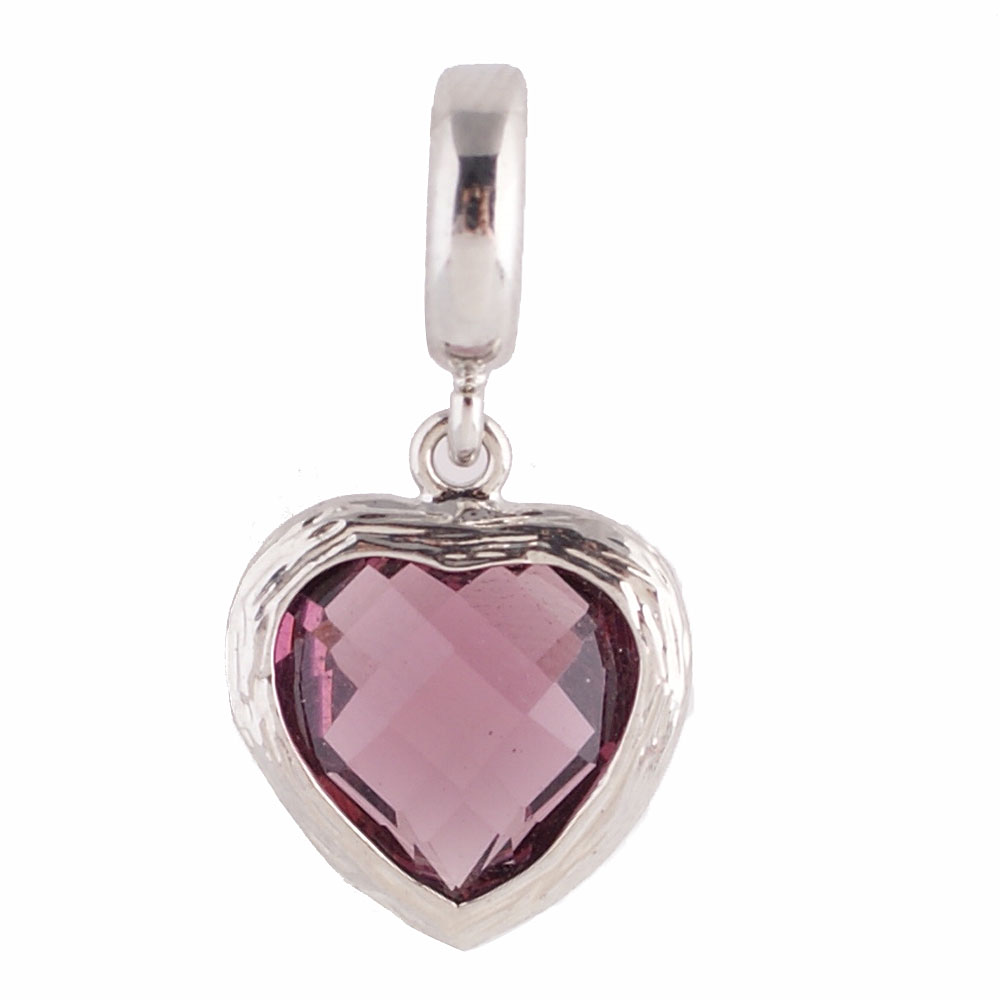 End Less Rhinestone Charms Drop - Silver Heart Cut Purple