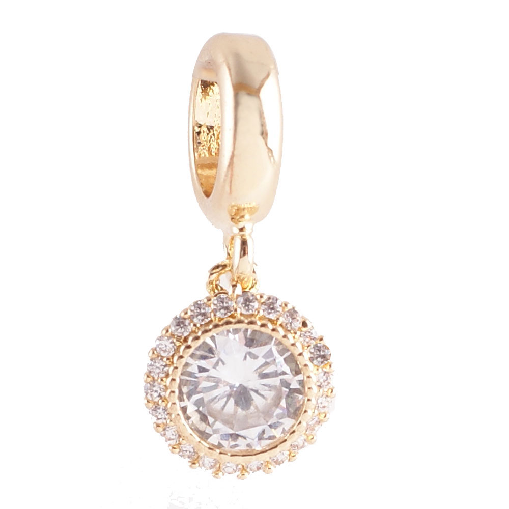 End Less Rhinestone Charms Drop - Gold Round Clear Halo Small